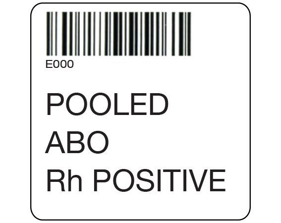 """White 2 """" x 2"""" Pooled Product Group Type Labels for Compliance with ISBT 128 Standards  - With Imprint: E000 / POOLED / ABO / Rh POSITIVE"""