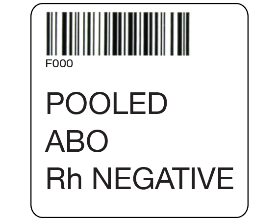 """White 2 """" x 2"""" Pooled Product Group Type Labels for Compliance with ISBT 128 Standards  - With Imprint: F000 / POOLED / ABO / Rh NEGATIVE"""