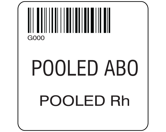 """White 2 """" x 2"""" Pooled Product Group Type Labels for Compliance with ISBT 128 Standards  - With Imprint: G000 / POOLED ABO / POOLED Rh"""