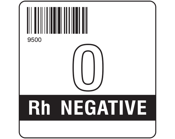 """White 2 """" x 2"""" Group Type Labels for Compliance with ISBT 128 Standards  - With Imprint: 9500 / O / Rh NEGATIVE"""