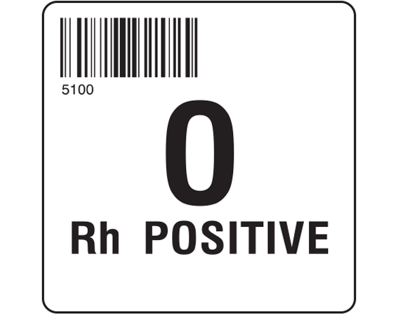 """White 2 """" x 2"""" Group Type Labels for Compliance with ISBT 128 Standards  - With Imprint: 5100 / O / Rh POSITIVE"""
