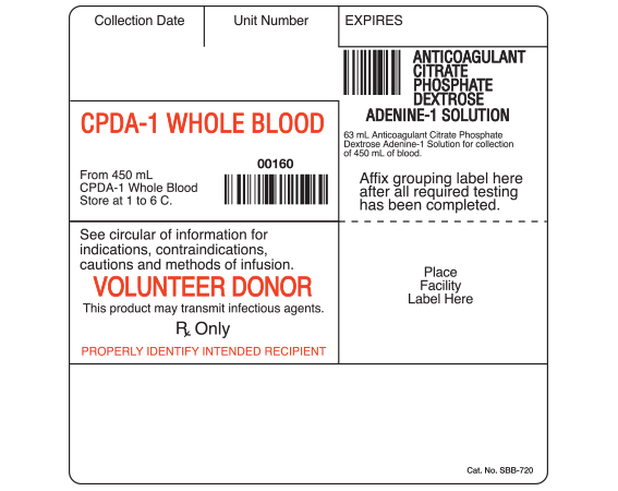 """White 4 """" x 4"""" Blood Bag Base Labels with Codabar Symbology  - With Imprint: Collection Date Unit Number EXPIRES / CPDA-1 WHOLE BLOOD...00160... / VOLUNTEER DONOR..."""