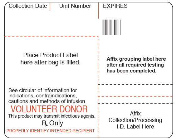 """White 4 """" x 4"""" Blood Bag Base Labels with Codabar Symbology  - With Imprint: Collection Date Unit Number EXPIRES / Place Product Label / here after bag is filled. / Affix grouping label here / after all required testing / has been completed. / See circular of information fo"""
