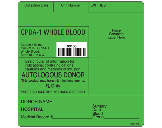 """White 4 """" x 4"""" Blood Bag Base Labels with Codabar Symbology  - With Imprint: Collection Date Unit Number EXPIRES / CPDA-1 WHOLE BLOOD / Approx 450 mL / plus 63 mL CPDA-1. / Whole Blood. / Store at 1 to 6 C. / 00160 / See circular of information for / indications"""