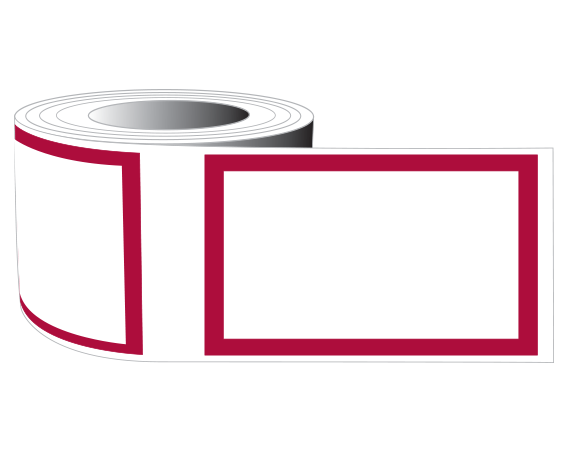 """White 1-1/2"""" x 2-1/2"""" Red Border Labeling Tape for the Laboratory"""