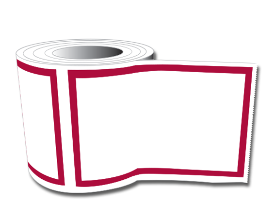 """White 2"""" x 3"""" Red Border Labeling Tape for the Laboratory"""
