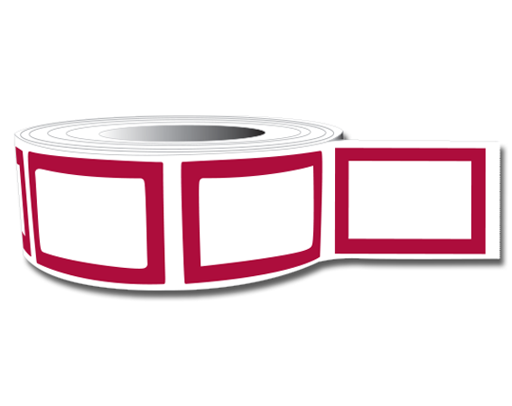 """White 3/4"""" x 1"""" Red Border Labeling Tape for the Laboratory"""