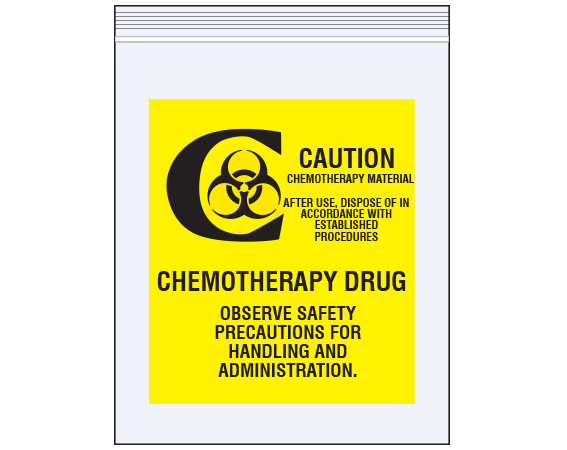 """Clear 12"""" x 15"""" Reclosable Poly Biohazard Bags for Chemotherapy Drug Transport  - With Imprint: CAUTION / CHEMOTHERAPY MATERIAL / AFTER USE"""