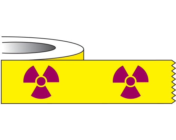 "Yellow 1/2"" x 500"" Radioactive Materials Warning Tape  - With Imprint: RADIOACTIVE SYMBOL"