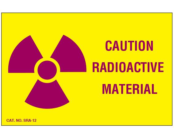 "Yellow 4"" x 6"" Radioactive Materials Warning Labels  - With Imprint: CAUTION / RADIOACTIVE / MATERIAL"