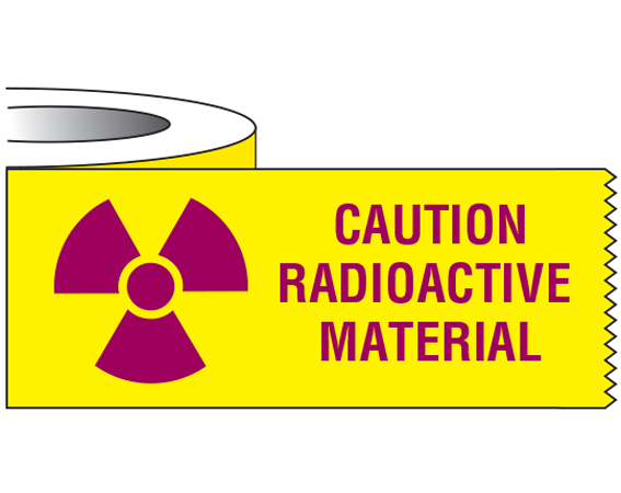 "Yellow 1"" x 500"" Radioactive Materials Warning Tape  - With Imprint: CAUTION / RADIOACTIVE / MATERIAL"