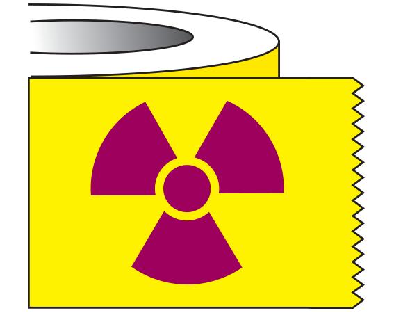 "Yellow 1"" x 500"" Radioactive Materials Warning Tape  - With Imprint: RADIOACTIVE SYMBOL"