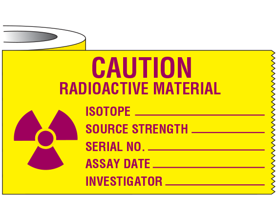 """Yellow 2"""" x 500"""" Radioactive Materials Warning Tape  - With Imprint: CAUTION / RADIOACTIVE MATERIAL / ISOTOPE _____ / SOURCE STRENGTH _____ ..."""