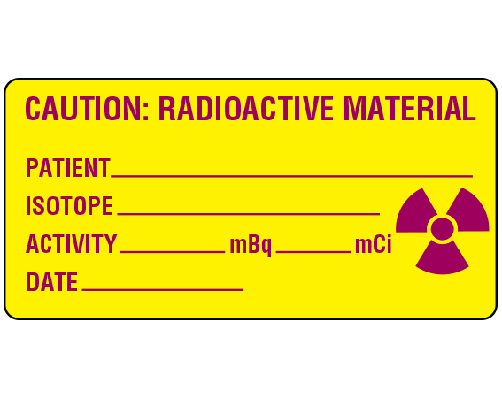 """Yellow 1-1/2"""" x 3"""" Radioactive Materials Warning Labels  - With Imprint: CAUTION: RADIOACTIVE MATERIAL / PATIENT _____ / ISOTOPE _____ / ACTIVITY _____ mBq _____ mCi / DATE _____"""