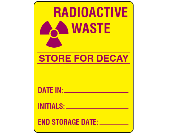 """Yellow 3"""" x 2-1/4"""" Radioactive Materials Warning Labels  - With Imprint: RADIOACTIVE / WASTE / STORE FOR DECAY / DATE IN: _____ / INITIALS: _____ / END STORAGE DATE: _____"""