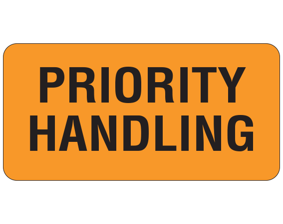 """Orange 1 """" x 2"""" Miscellaneous Labels for Respiratory Therapy  - With Imprint: PRIORITY / HANDLING"""
