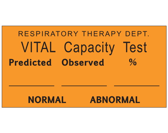"""Orange 1 """" x 2"""" Miscellaneous Labels for Respiratory Therapy  - With Imprint: RESPIRATORY THERAPY DEPT. / VITAL Capacity Test / Predicted Observed % / _____ _____ _____ / NORMAL ABNORMAL"""