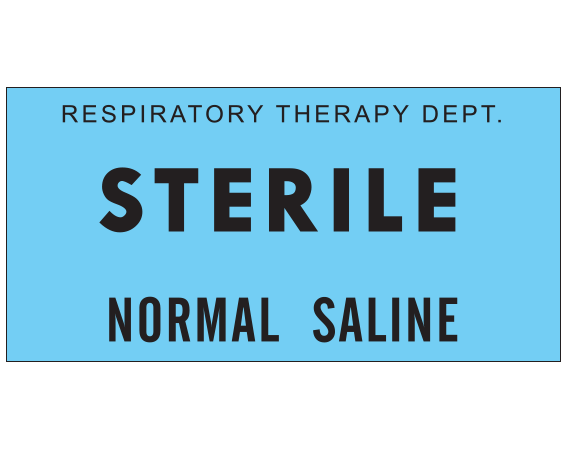 """Blue 1 """" x 2"""" Miscellaneous Labels for Respiratory Therapy  - With Imprint: RESPIRATORY THERAPY DEPT. / STERILE / NORMAL SALINE"""