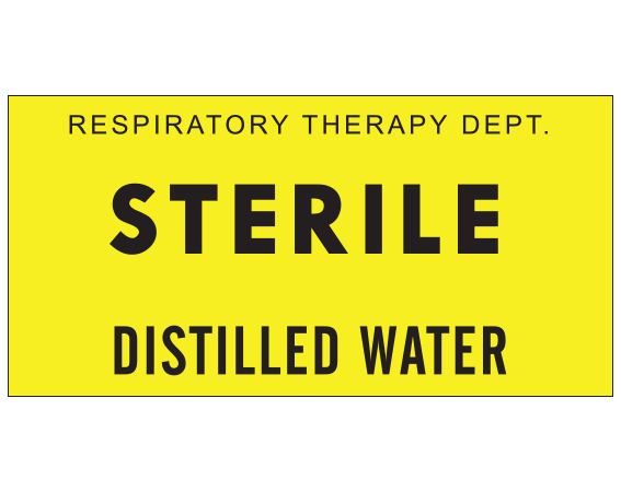 """Yellow 1 """" x 2"""" Miscellaneous Labels for Respiratory Therapy  - With Imprint: RESPIRATORY THERAPY DEPT. / STERILE / DISTILLED WATER"""
