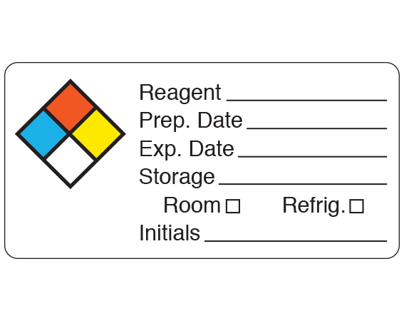 """White 1-1/2"""" x 3"""" Chemical Hazard Information Labels  - With Imprint: Reagent _____ / Prep. Date _____ / Exp. Date _____ ..."""