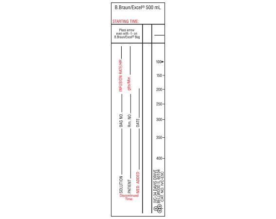 """White 9 """" x 1-1/2"""" Intravenous Check Labels for Patient and Solution Identification  - With Imprint: B.Braun/Excel 500 mL (NARROW) STYLE C"""