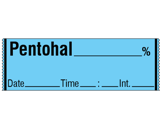 """Blue 1/2"""" x 500"""" Anesthesia Drug Labels for Syringe Identification - Tape Form  - With Imprint: PENTOTHAL _____ % / Date _____ Time _____ Int. _____"""