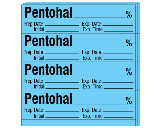 """Blue 1/2"""" x 2"""" Anesthesia Drug Labels for Syringe Identification - Pack Form  - With Imprint: PENTOTHAL _____% / Prep Date _____ Exp. Date _____ / Initial _____ Exp. Time _____"""