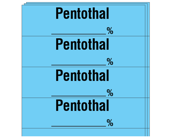 "Blue 1/2"" x 2"" Anesthesia Drug Labels for Syringe Identification - Pack Form  - With Imprint: PENTOTHAL _____%"