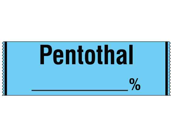 """Blue 1/2"""" x 500"""" Anesthesia Drug Labels for Syringe Identification - Tape Form  - With Imprint: PENTOTHAL _____%"""
