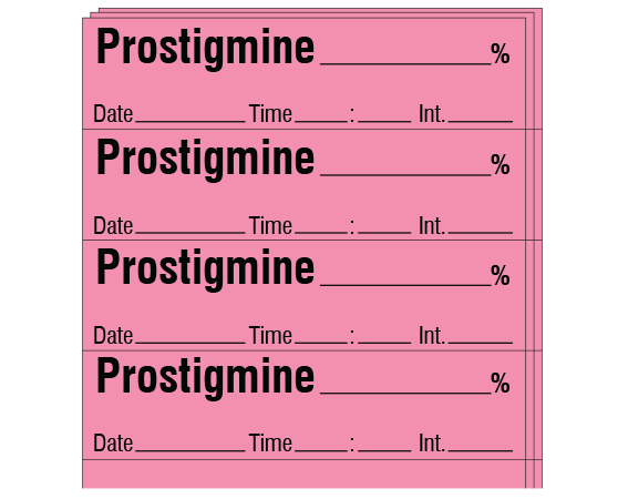 """Rose 1/2"""" x 2"""" Anesthesia Drug Labels for Syringe Identification - Pack Form  - With Imprint: PROSTIGMINE _____ % / Date _____ Time _____ Int. _____"""
