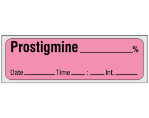 """Rose 1/2"""" x 500"""" Anesthesia Drug Labels for Syringe Identification - Precut Form  - With Imprint: PROSTIGMINE _____ % / Date _____ Time _____ Int. _____"""