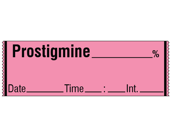 """Rose 1/2"""" x 500"""" Anesthesia Drug Labels for Syringe Identification - Tape Form  - With Imprint: PROSTIGMINE _____ % / Date _____ Time _____ Int. _____"""