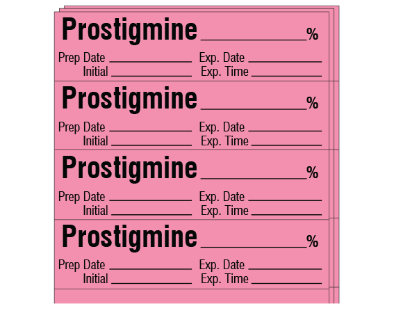 """Rose 1/2"""" x 2"""" Anesthesia Drug Labels for Syringe Identification - Pack Form  - With Imprint: PROSTIGMINE _____ % / Prep Date _____ Exp. Date _____ / Initial _____ Exp. Time _____"""