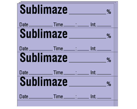 "Violet 1/2"" x 2"" Anesthesia Drug Labels for Syringe Identification - Pack Form  - With Imprint: SUBLIMAZE _____ % / Date _____ Time _____ Int. _____"