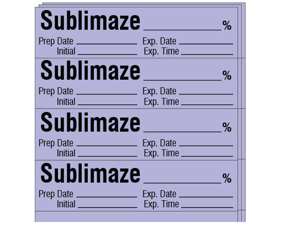 """Violet 1/2"""" x 2"""" Anesthesia Drug Labels for Syringe Identification - Pack Form  - With Imprint: SUBLIMAZE _____ % / Prep Date _____ Exp. Date _____ / Initial _____ Exp. Time _____"""