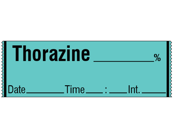 """Aqua 1/2"""" x 500"""" Anesthesia Drug Labels for Syringe Identification - Tape Form  - With Imprint: THORAZINE _____ % / Date _____ Time _____ Int. _____"""