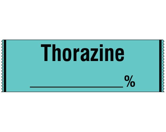 "Aqua 1/2"" x 500"" Anesthesia Drug Labels for Syringe Identification - Tape Form  - With Imprint: THORAZINE _____ %"