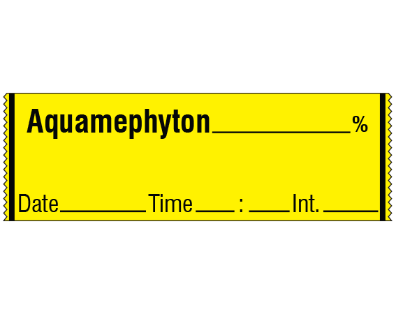 """Yellow 1/2"""" x 500"""" Anesthesia Drug Labels for Syringe Identification - Tape Form  - With Imprint: Aquamephyton _____ % / Date_____ Time _____ Int. _____"""