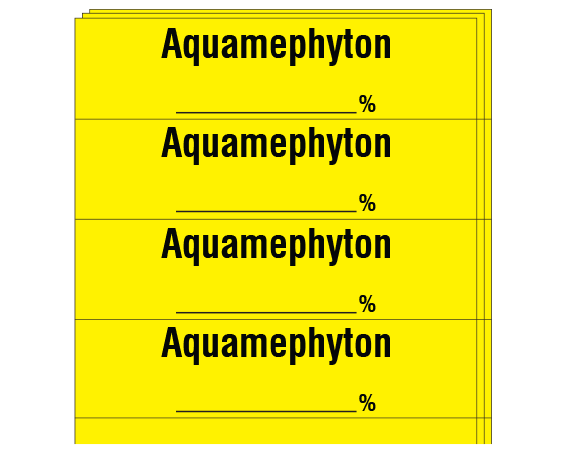 """Yellow 1/2"""" x 2"""" Anesthesia Drug Labels for Syringe Identification - Pack Form  - With Imprint: Aquamephyton _____ %"""