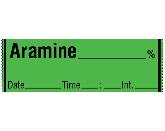 """Green 1/2"""" x 500"""" Anesthesia Drug Labels for Syringe Identification - Tape Form  - With Imprint: ARAMINE _____ % / Date _____ Time _____ Int. _____"""