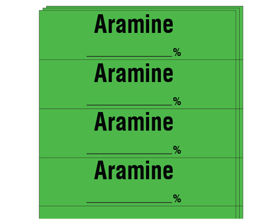 """Green 1/2"""" x 2"""" Anesthesia Drug Labels for Syringe Identification - Pack Form  - With Imprint: ARAMINE _____ %"""