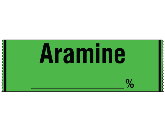 """Green 1/2"""" x 500"""" Anesthesia Drug Labels for Syringe Identification - Tape Form  - With Imprint: ARAMINE _____ %"""