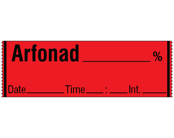"""Red 1/2"""" x 500"""" Anesthesia Drug Labels for Syringe Identification - Tape Form  - With Imprint: ARFONAD _____ % / Date _____ Time _____ Int. _____"""