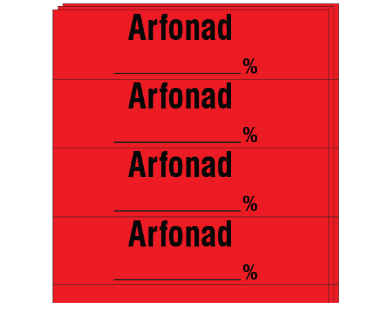 """Red 1/2"""" x 2"""" Anesthesia Drug Labels for Syringe Identification - Pack Form  - With Imprint: ARFONAD / _____ %"""
