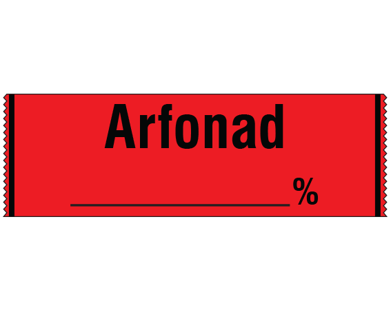 """Red 1/2"""" x 500"""" Anesthesia Drug Labels for Syringe Identification - Tape Form  - With Imprint: ARFONAD / _____ %"""
