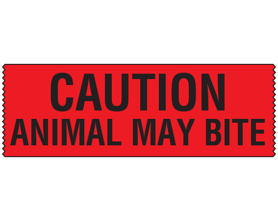 """Red 3/4"""" x 500"""" Animal Care Labels for Veterinary Medicine  - With Imprint: CAUTION / ANIMAL MAY BITE"""