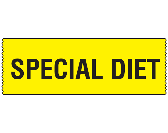 """Yellow 3/4"""" x 500"""" Animal Care Labels for Veterinary Medicine  - With Imprint: SPECIAL DIET"""