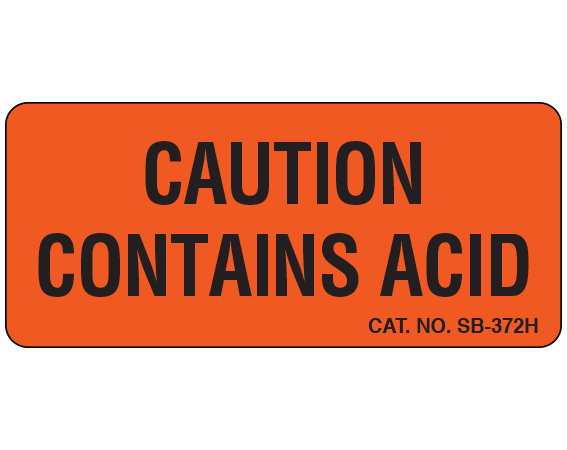 """Fluorescent Red 1"""" x 2-1/4"""" Caution Communication Labels for the Laboratory  - With Imprint: CAUTION / CONTAINS ACID"""