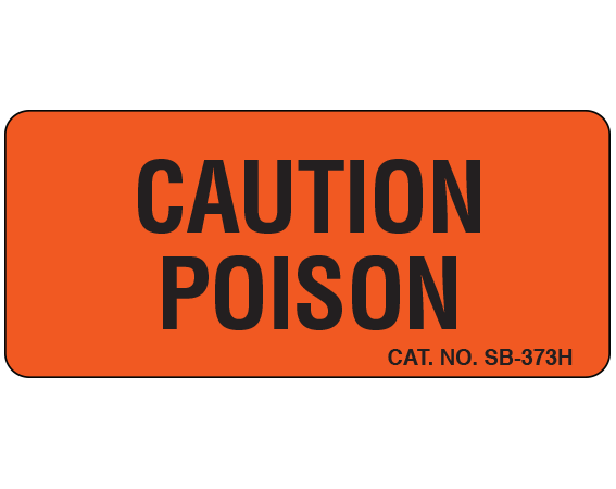 """Fluorescent Red 1"""" x 2-1/4"""" Caution Communication Labels for the Laboratory  - With Imprint: CAUTION / POISON"""