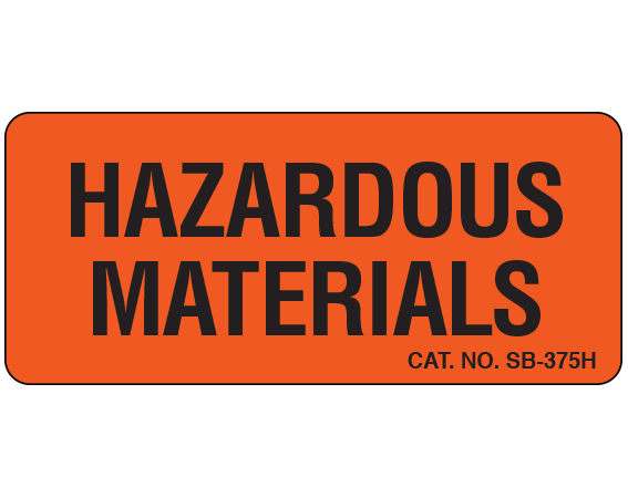 """Fluorescent Red 1"""" x 2-1/4"""" Caution Communication Labels for the Laboratory  - With Imprint: HAZARDOUS / MATERIALS"""